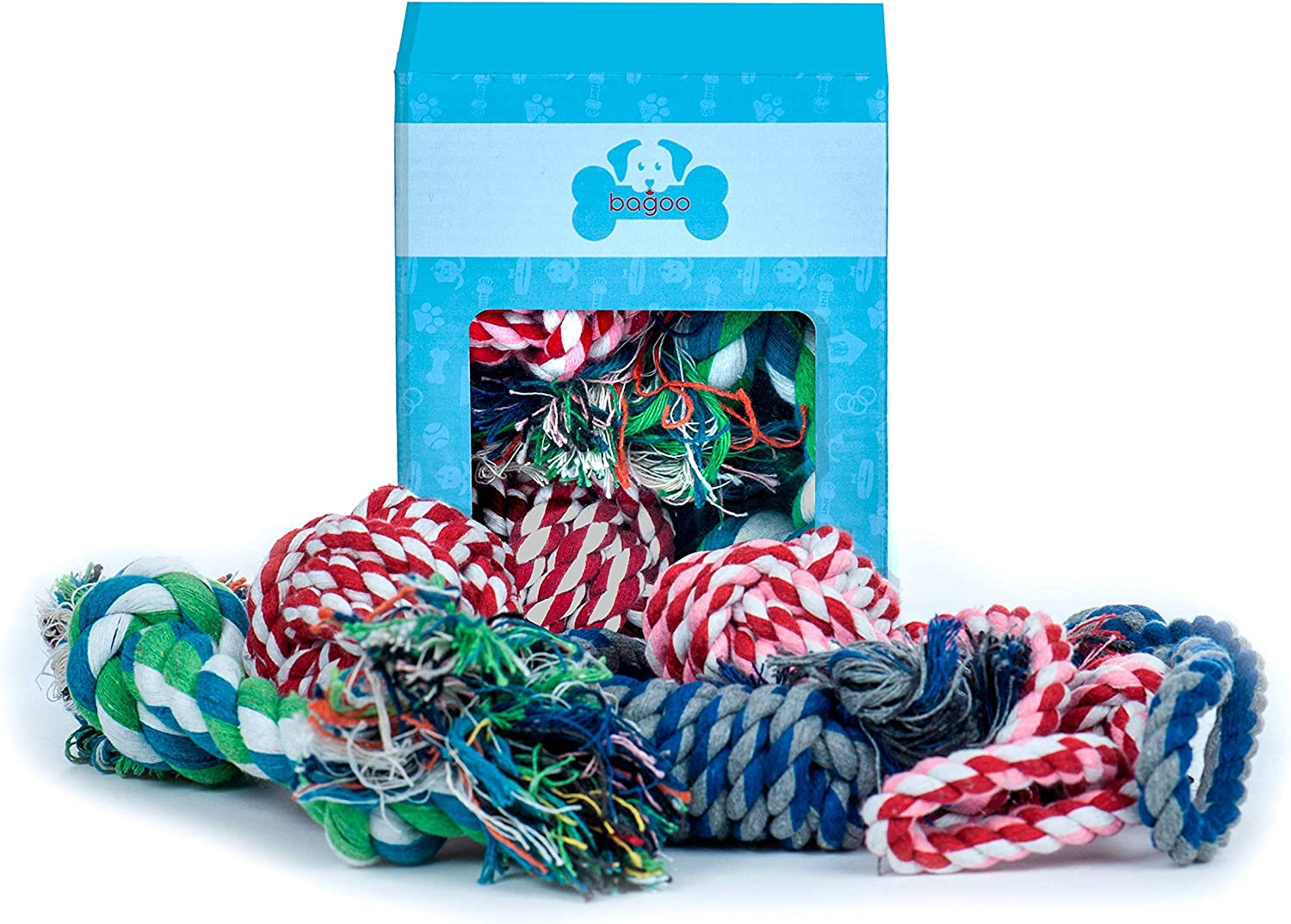 Bagoo Pets Dog Rope Toys for Small, Medium, and Large Dogs. Sets of 4 and 5. for Keeping Them Busy, Playing Thug of War, When Teething. Suited for Aggressive Chewers. (Normal (4 Pack))