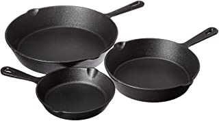 "Jim Beam JB0195 HEA Set of 3 Pre Seasoned Cast Iron Skillets with Even Distribution and Heat Retention-6"" 8"" 10"", 10'', Black"