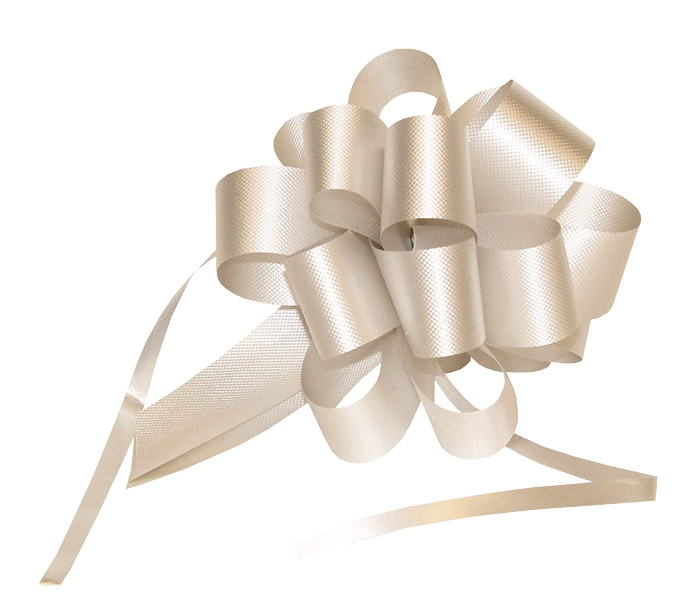 Premier Packaging AMZ-PF520 25 Count Flora Satin Pull Bow, 4 by 18-Inch Loop, Silver
