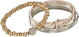 Three-Piece Bracelet Set - Two Hinge Bangles and One Stretch