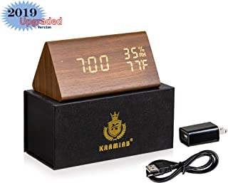 Digital Alarm Clock   Sound control - Wooden Luxury Electronic LED Display   3 levels brightness   3 Alarm Settings  Temperature and Humidity Detect   Ideal for Bedroom, Living room, office - (Wooden)