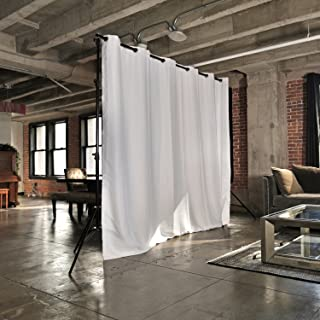 RoomDividersNow Freestanding Room Divider Kit - Small A, 8ft Tall x 7ft - 12ft 6in Wide (Natural White)