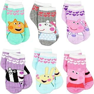 Peppa Pig Girls Toddler 6 Pack Socks Set