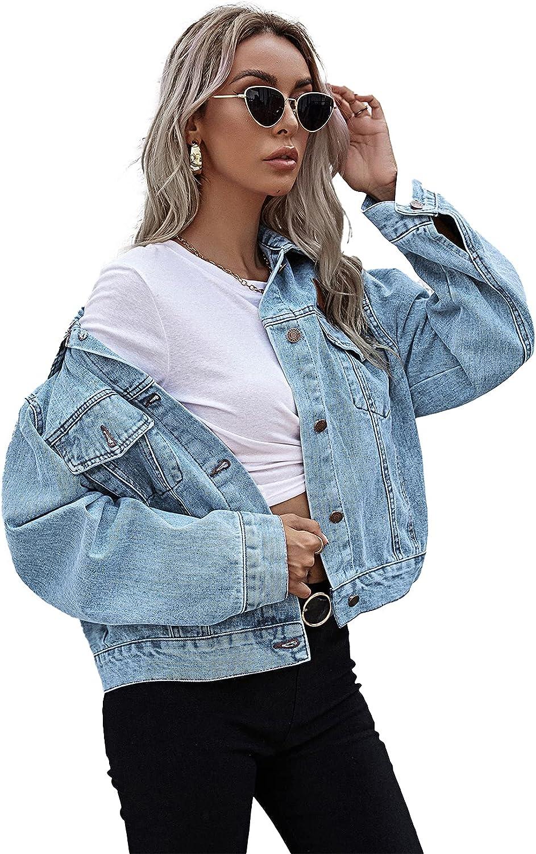 Women's Casual Denim Jacket Oversize Vintage Washed Jean Jackets