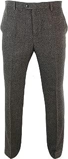 Mens Herringbone Tweed Vintage Retro Check Wool Trousers Peaky Blinders Classic Navy Blue