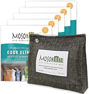 MOSO NATURAL: The Original Air Purifying Bag. 300g Stand Up Design (5 Pack). for Closets, Bathrooms, Pet Areas. an Unscent...