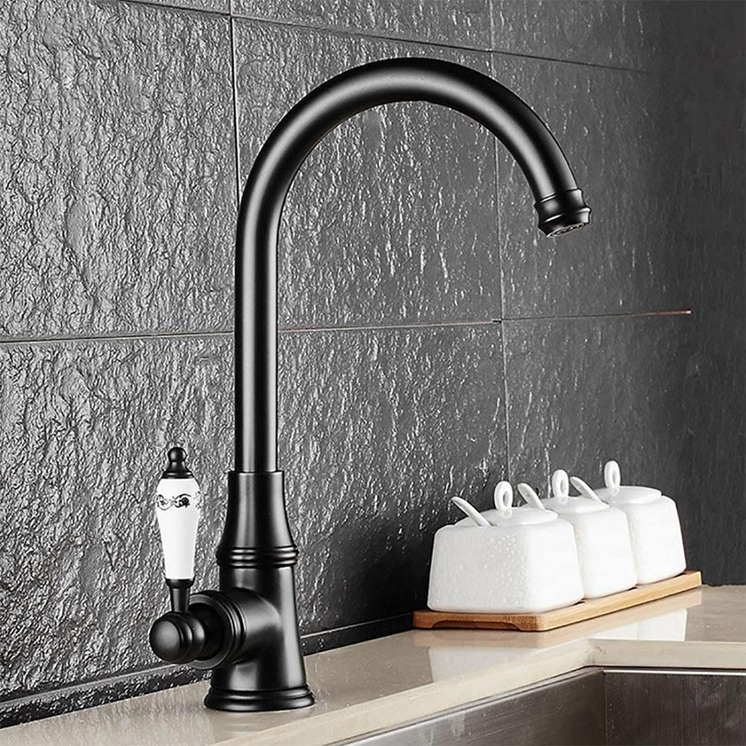 QW Antique hot and cold kitchen sink faucet bluee and white porcelain handle redating faucet , black
