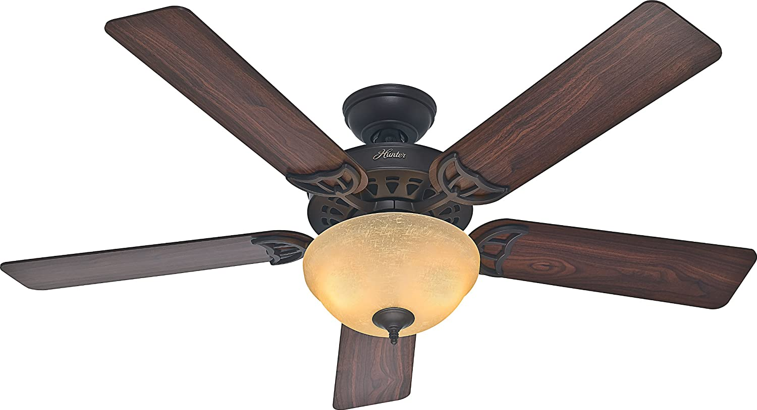 Hunter 53172 The Sonora 52-inch New Bronze Ceiling Fan with Five Walnut Cherry Blades and Bowl Light Kit