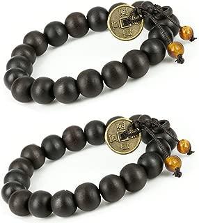 Feng Shui Coin with 2 tiger eye stone Tibetan Buddha Prayer Mala Black Wood Bracelet - W026 - 2 pcs