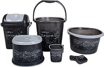 Nayasa 6 Piece Plastic Bathroom Set, Grey