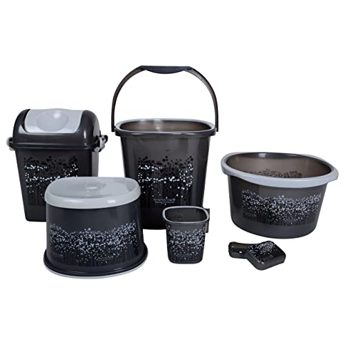 Nayasa 6 Piece Plastic Bathroom Set, Grey