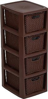 BranQ - Home essential Estantería en diseño de ratán, plástico PP sin BPA, Gris Claro, 29,5 x 24 x 64,2 cm, marrón, 4 cestas