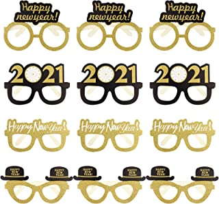obmwang 24 Pieces Happy New Year Eyeglasses Fancy New Year Party Glasses Photo Booth Props Eyeglasses for 2021 New Year's ...