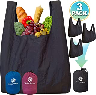 Reusable Shopping Bags Set with Pouch XL Grocery Bags Reusable Foldable in One Compact Pouch - Heavy Duty Parachute Nylon - Environment-friendly Bag Lightweight XL and Washable -Black 3 pack