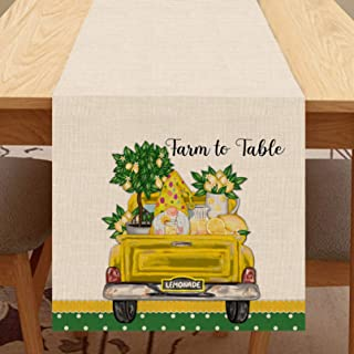 Seliem Summer Lemon Gnome Table Runner, Yellow Truck Farm to Table Scarf Dresser Home Kitchen Watercolor Lemon Tree Lemona...