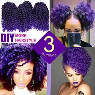 Silike 8'' Ombre Marlybob Kinky Curl (3 Bundles/pack) Curly Wave Afro Kinky Braid Hair Extension(T 1B/Purple)