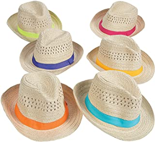 Fun Express Bulk Fedora Hats (Set of 12) with Colorful Band