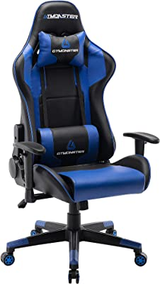 GTMONSTER Racing Style Video Gaming Chair, Reclining Ergonomic Leather Office Computer Game Chair, Swivel Gaming Chairs for Adults (Blue)