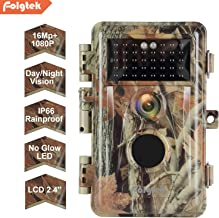 Folgtek Trail Camera, 16MP 1080P Video Game & Deer Camera with No Glow Night Vision 65Ft, Motion Activated IP66 Waterproof, Loop Recording, Hunting Wildlife Scouting & Indoor and Outdoor Security