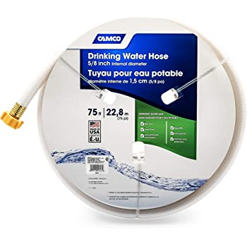 "Camco TastePURE 75ft Drinking Water Hose - Lead and BPA Free - Reinforced for Maximum Kink Resistance - Features a 5/8"" Inner Diameter (21008)"