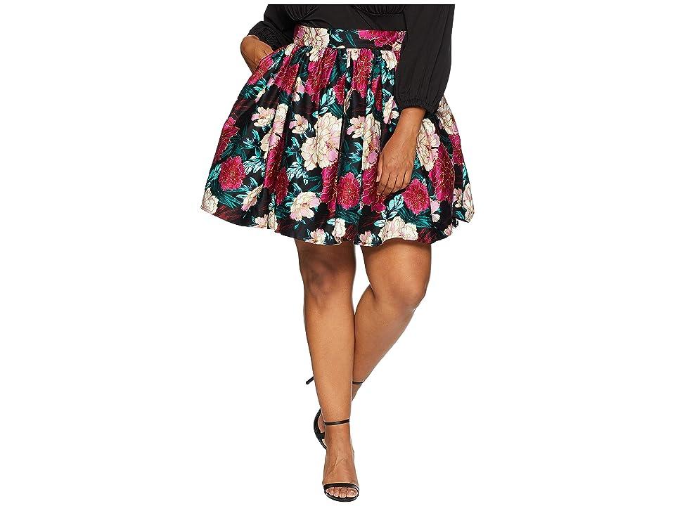Unique Vintage Plus Size 1950s Style Lupone Skater Skirt (Black/Pink Carnation Print) Women