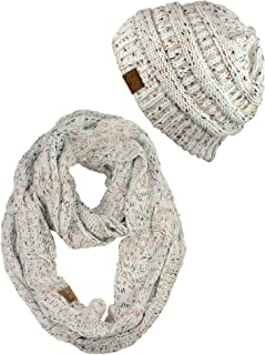 Soft Stretch Colorful Confetti Cable Knit Beanie and Infinity Loop Scarf Set