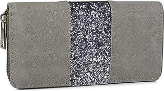 styleBREAKER Portafoglio con strisce di paillettes circostanti, cerniera lampo, portafoglio, signore 02040056, colore:Grig...