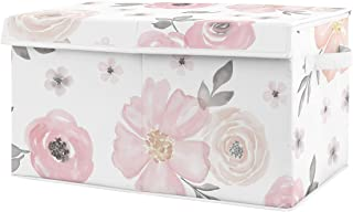 Sweet Jojo Designs Pink and Grey Rose Flower Girl Baby Nursery or Kids Room Small Fabric Toy Bin Storage Box Chest for Wat...