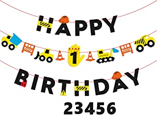 BeYumi Construction Truck Birthday Banner and Garland, Yellow and Black Excavator Themed Party Decorations for 1-6 Year Old Kids