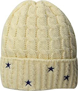 KNH3588 Cable Knit Beanie with Star Embroidery