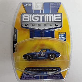 '63 Chevy Corvette Sting Ray Navy Blue Race Car 2007 Big Time Muscle diecast car No. 136
