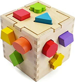 Geometric Shape Sorter with Stacking Blocks and Shape Sorting Cube for Preschool Toddlers