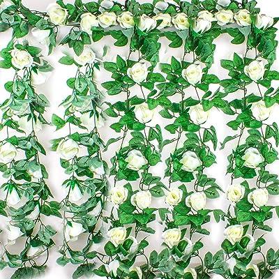 Ezeso - Guirnalda de flores artificiales con hojas verdes para ...