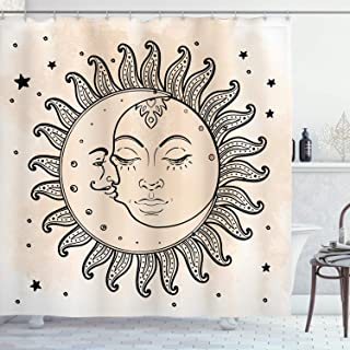 Ambesonne Sketchy Shower Curtain, Sun and Moon Celestial Composition Day`s Cycle Mystical Inspiration, Cloth Fabric Bathroom Decor Set with Hooks, 75