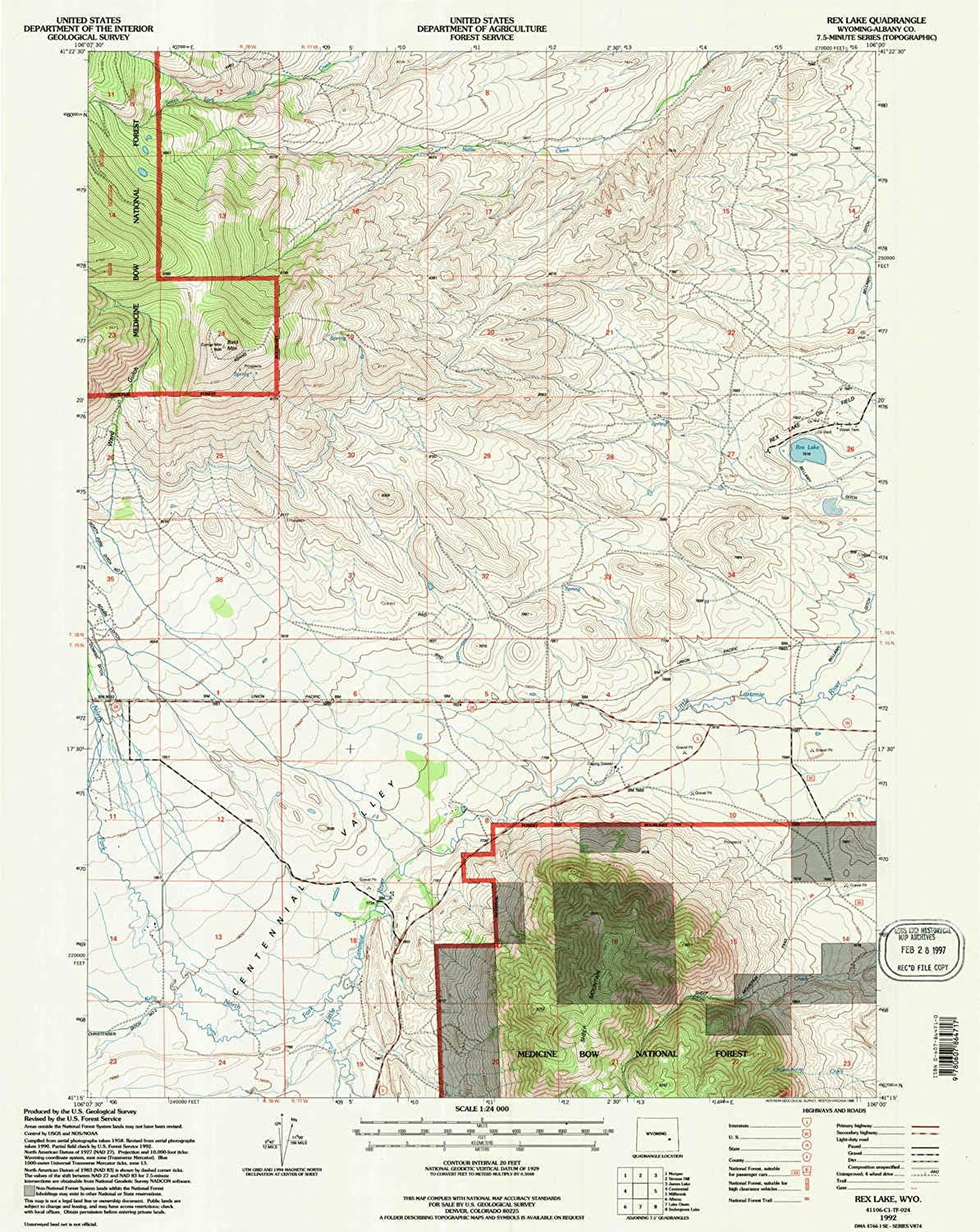 Rex Lake WY topo map, 1 24000 Scale, 7.5 X 7.5 Minute, Historical, 1992, Updated 1996, 26.8 x 21.3 in