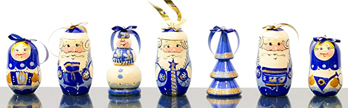 Best Christmas Ornaments - Set of 7 - Santa and Helpers - Wooden Handmade Ornaments from Russia (7, Design A) Reviews