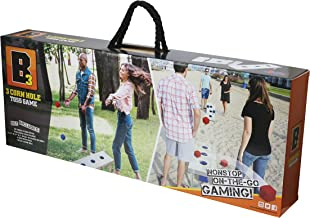 B3 3 Real Wood Bean Bag Toss Game with 8 Bean Cube Bags, Carry handels and Straps