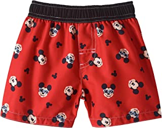 Baby Boys Red Mickey Mouse All Over Print Swim Trunks