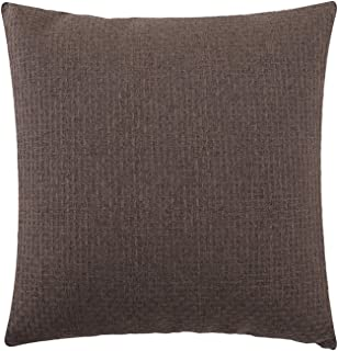 Jepeak Comfy Cotton Linen Throw Pillow Cover Rattan Weaved Pattern Cushion Case, Solid Thickened Farmhouse Modern Decorative Square Pillow Case for Sofa Couch Bed (Coffee, 16 x 16 Inches)