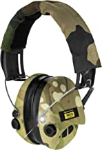 Sordin Supreme Pro X - Active Safety Ear Muffs with LED Light - Hearing Protection with Gel Seals - Camo Headband and Cups