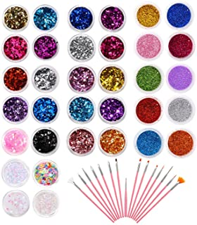 PHOGARY 34 Pots Glitter Set with 15 PCS Nail Art Brushes, Multi-color Power Sequins Iridescent Flakes for Nail Art Decorat...