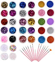 Phogary 34 Pots Glitter Set with 15 PCS Nail Art Brushes, Multi-color Power Sequins Iridescent Flakes for Nail Art Decoration, Craft, Makeup, Paints, Slime Supplies