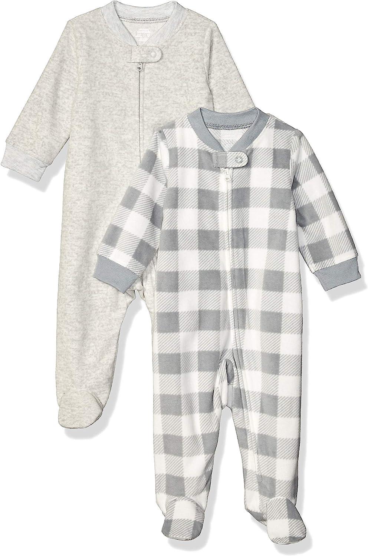 Amazon Essentials Baby Boys' Microfleece Footed Zip-Front Sleep and Play