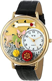 product image for Whimsical Watches Unisex G0130023 Chihuahua Black Skin Leather Watch