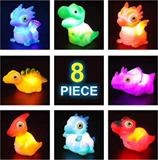 JOYIN 8 Packs Light-Up Bath Toys, Bathtub Dinosaur Toys for Baby Toddler Kids in Birthday Easter Christmas, Pool Toy for Boy and Girl Children Preschool