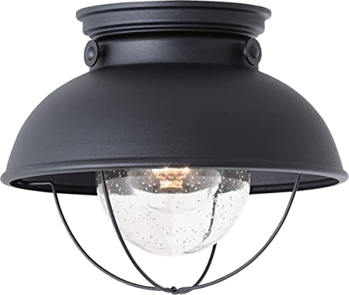 high quality Sea Gull Lighting 8869-12 Sebring Transitional One-Light Outdoor Ceiling Flush lowest Mount high quality Outside Fixture, Black Finish online