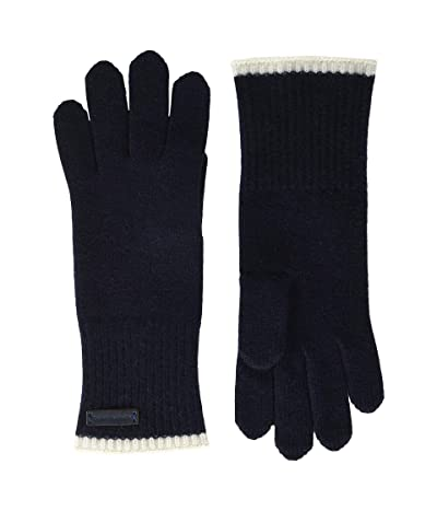 Tory Burch Cashmere Gloves (Tory Navy/New Ivory) Extreme Cold Weather Gloves