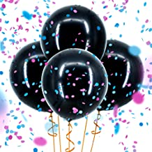 Sepco Gender Reveal Confetti Balloon Black - with Pink and Blue Confetti (Jumbo 36