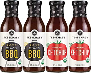 Tessemae's All Natural Condiments 4-pack - Ketchup + BBQ Sauce