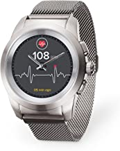 MyKronoz ZeTime Elite Hybrid Smartwatch 44mm with Mechanical Hands Over a Color Touch Screen – Brushed Silver/Milanese (Certified Refurbished)